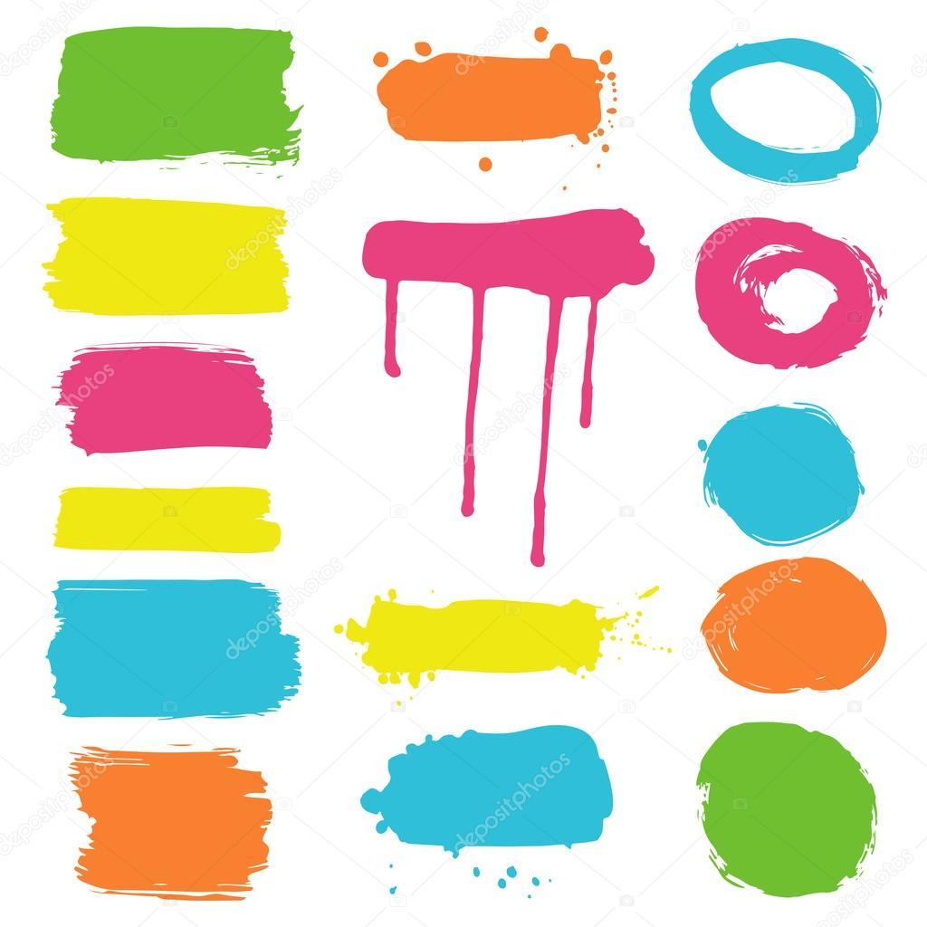 Sammlung von Tinte Splatters und Rahmen - Farbe — Stockvektor ...