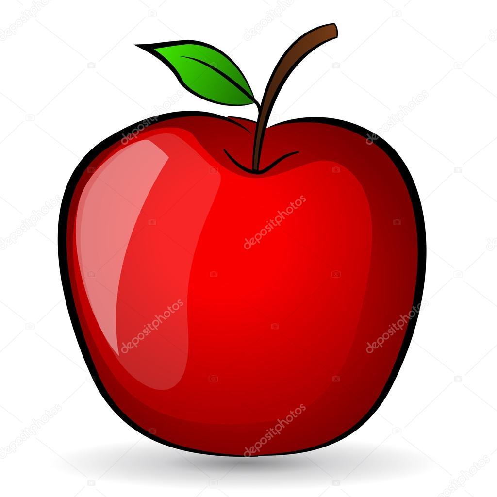 Illustration de pomme rouge dessin image vectorielle - Dessin pomme apple ...