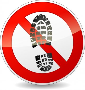 no shoes walking sign