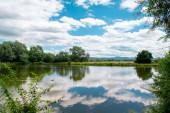 Banská Bystrica, Slovensko. Stromy zrcadlí odraz ve vodě. Rybářství. Zářící slunce nad rybníkem v letním dni.