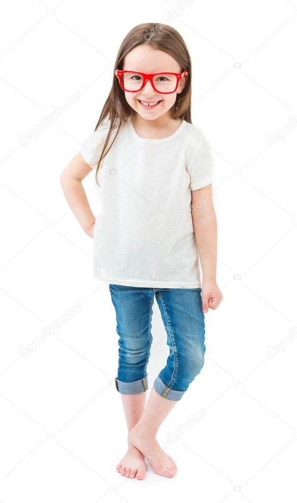 modern fashionable little girl in full growth standing