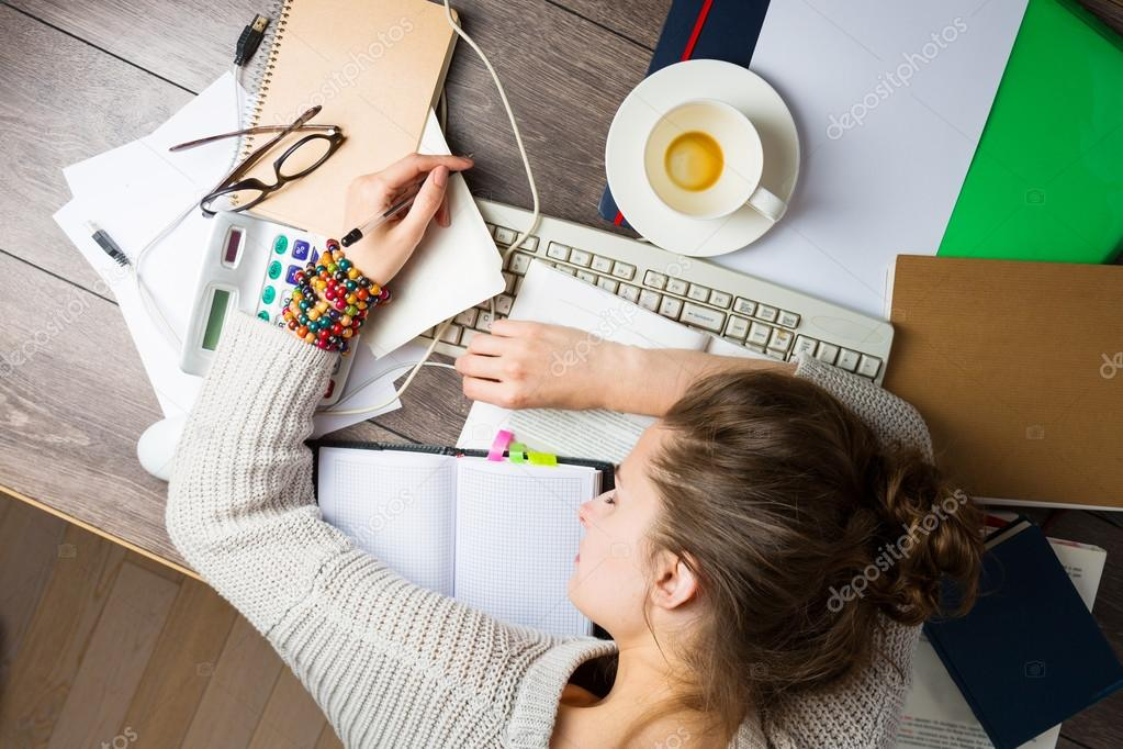 Tired student girl with books and coffee sleeping — Stock Photo ...