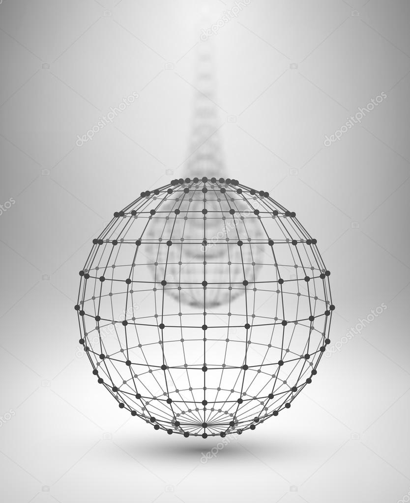 Wireframe Globe. Sphere with connected lines and dots. — Stock ...