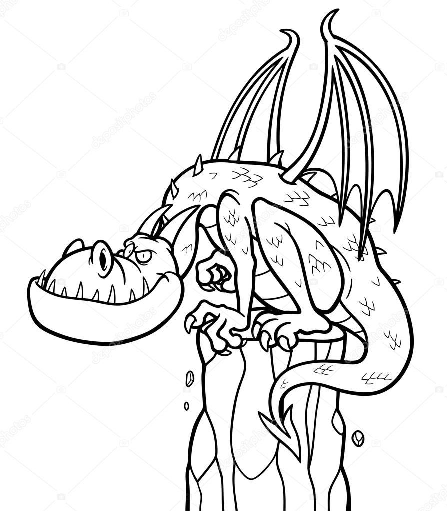 Illustration vectorielle de dragon cartoon coloriages vecteur par sararoom