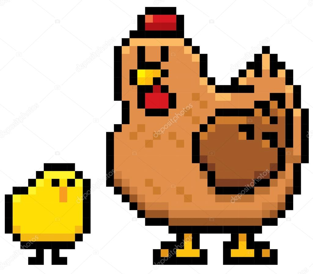 Cartoon Hen and chick character