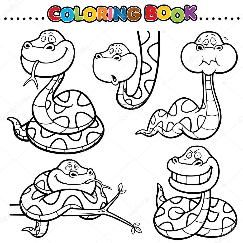 Dibujos Serpiente Animada Para Colorear Libro De Dibujos