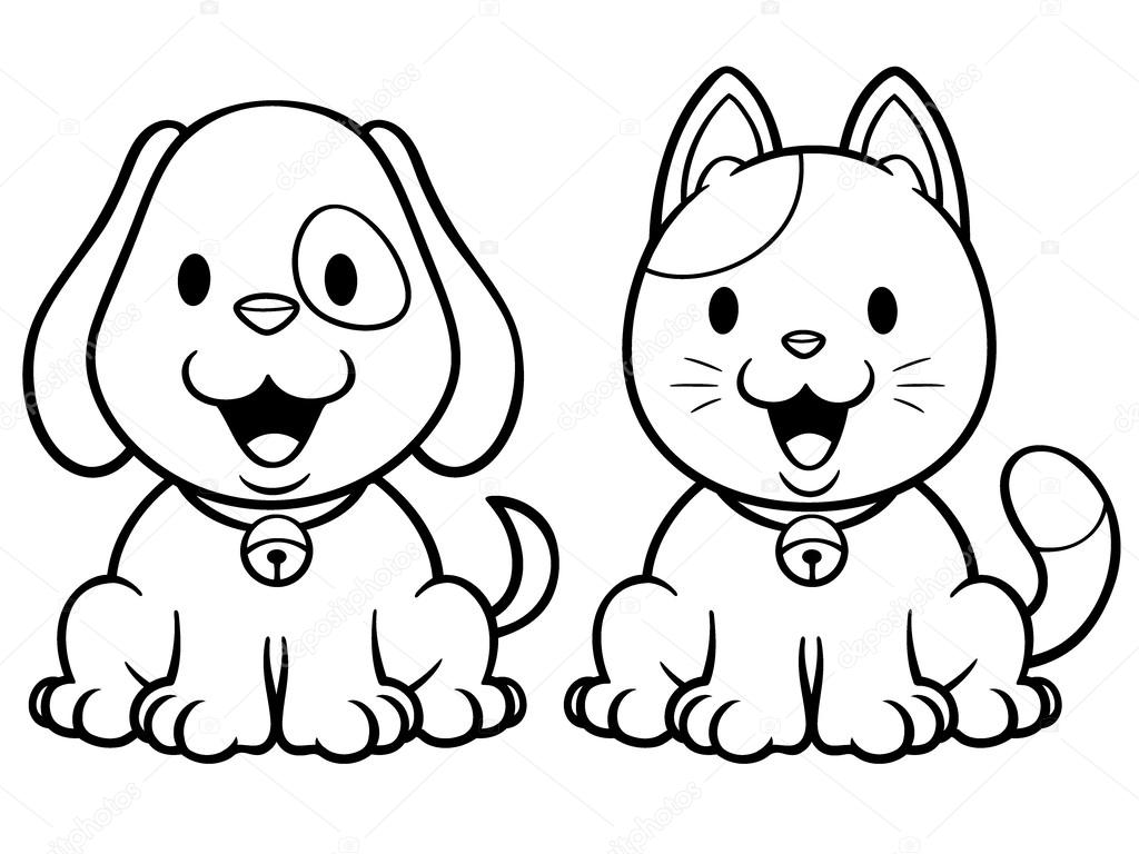 Gato Y Perro — Vector De Stock