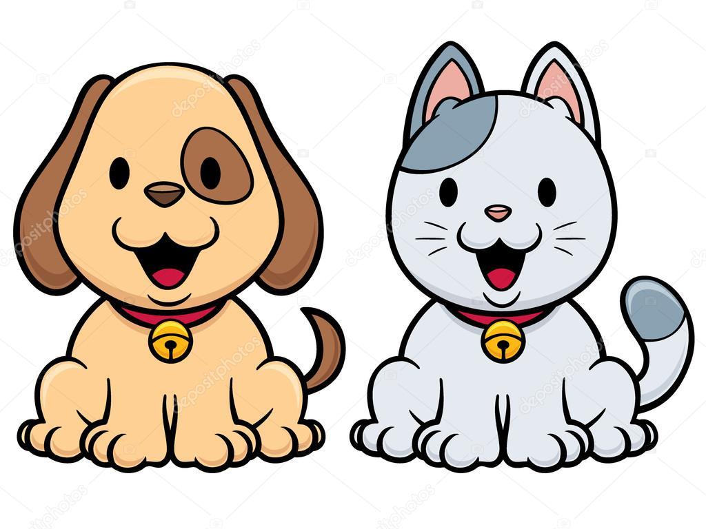 Dibujos Caras De Perros Y Gatos Gato Y Perro Vector De Stock