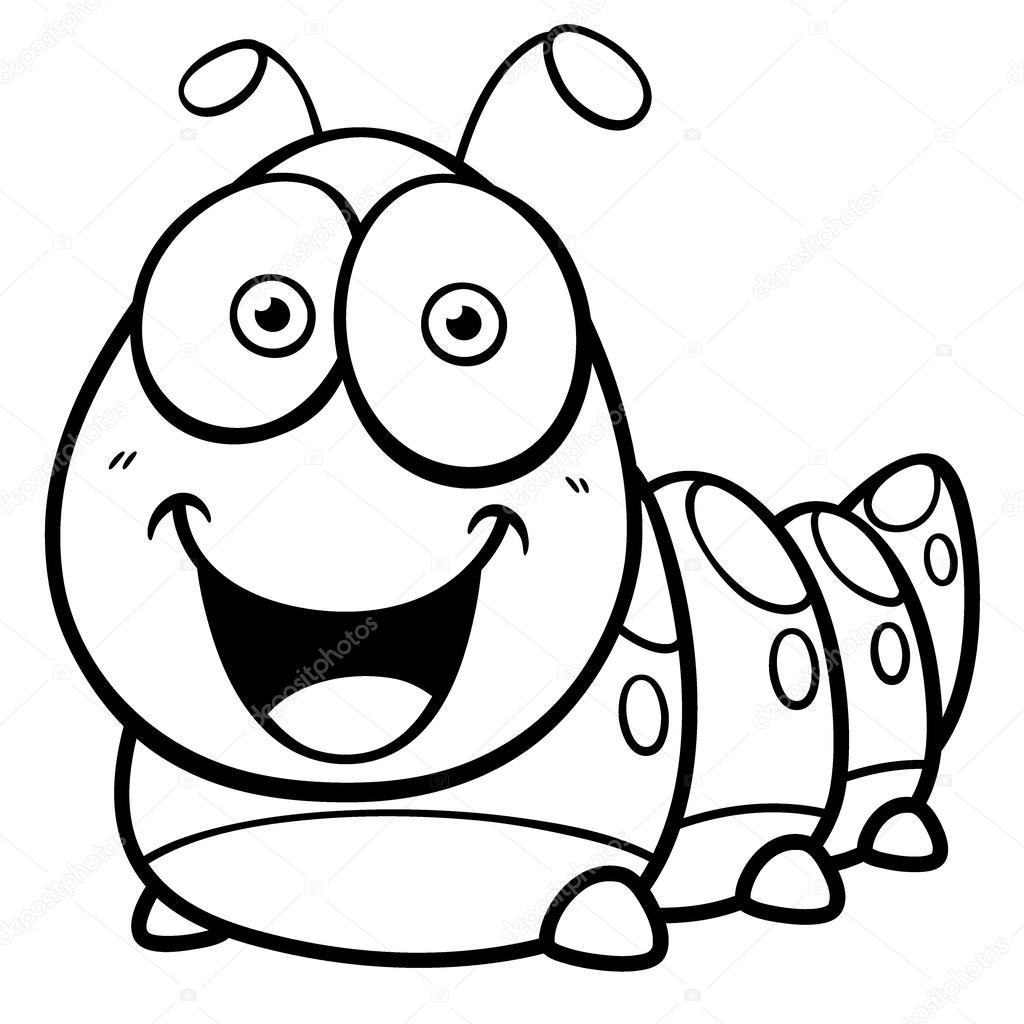 Imágenes: un gusano en caricatura para colorear | Gusano — Vector