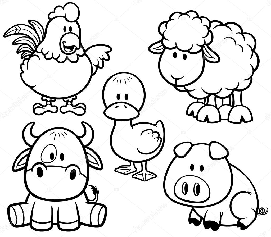 Gráfico Vectorial Animales De Granja Para Colorear Libro Imagen Vectorial Animales De Granja Para Colorear Libro Depositphotos