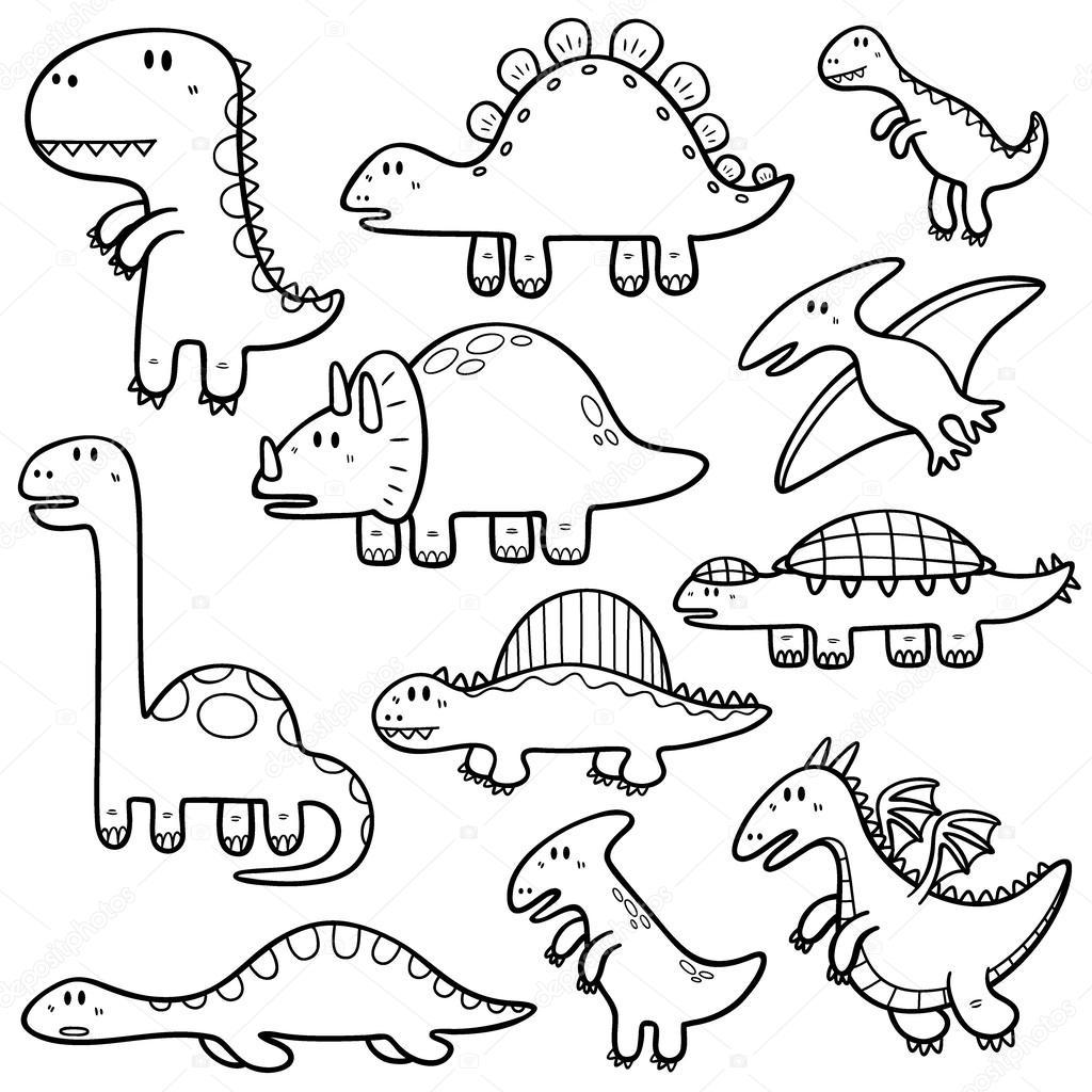 dibujos animados de dinosaurios — Vector de stock © sararoom #55851753