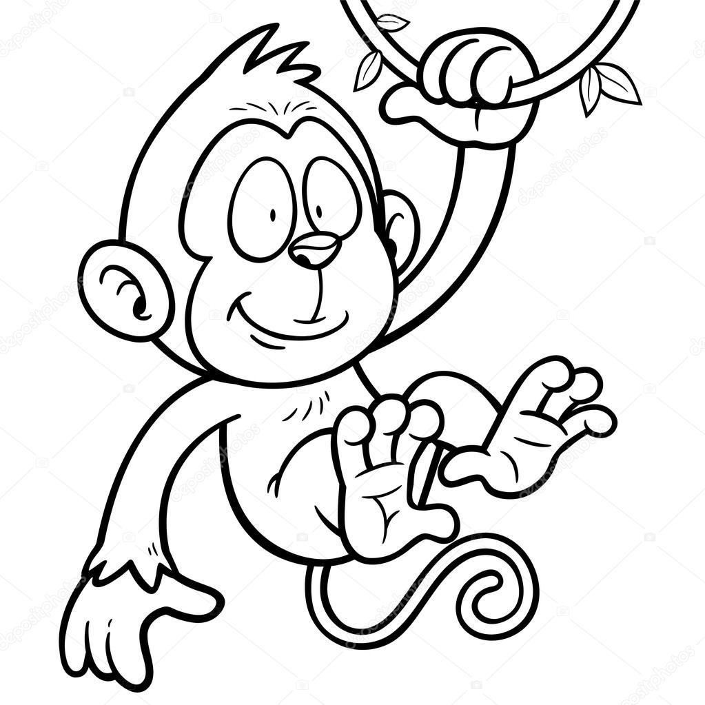 Mono lindo de dibujos animados — Vector de stock © sararoom #86892122