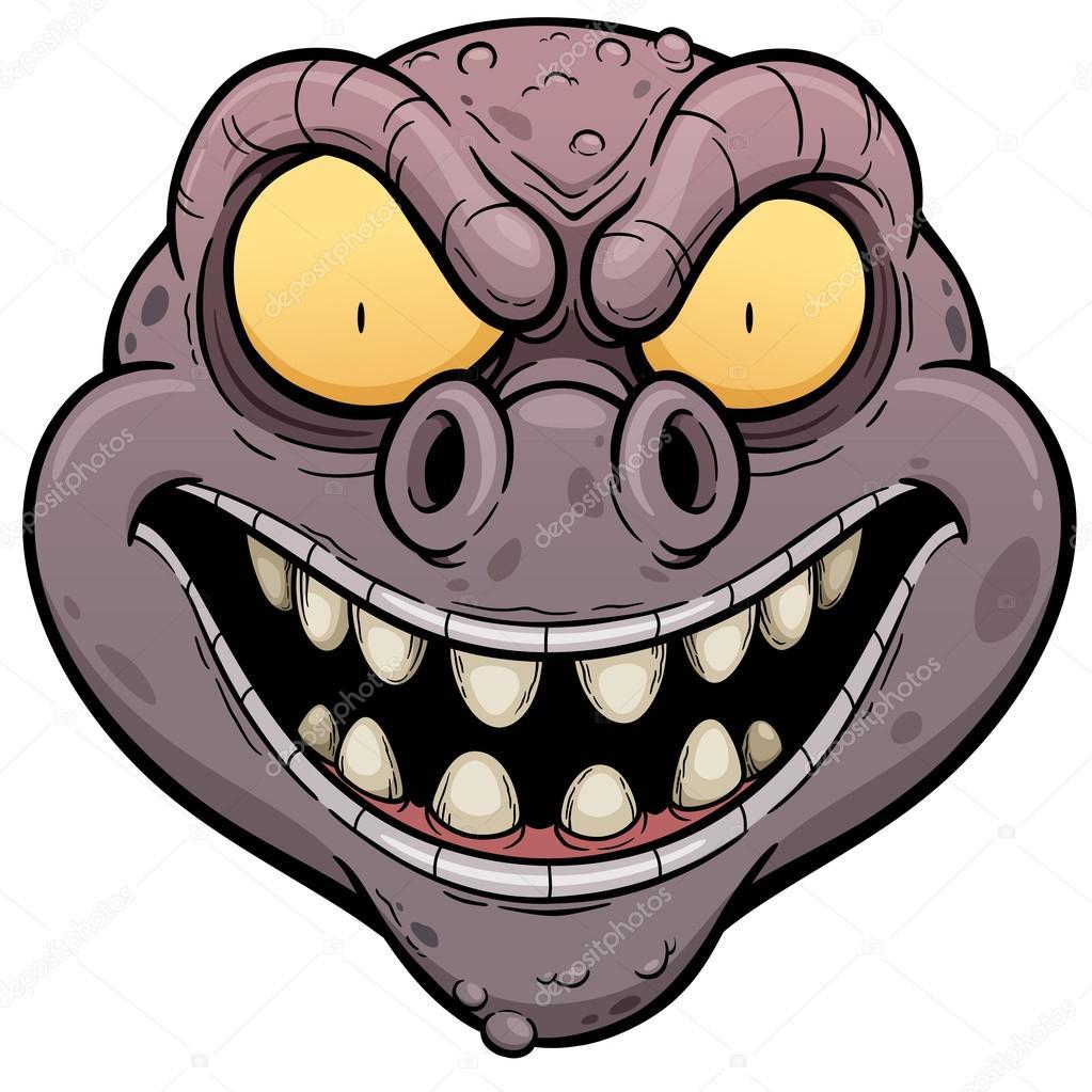 Cartone animato faccia di mostro — vettoriali stock