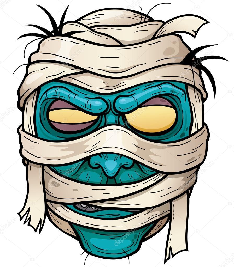 Cara de momia dibujos animados — vector stock