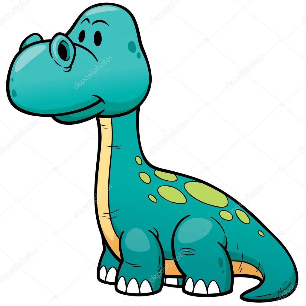 Dinossauro Verde Dos Desenhos Animados Isolado No Fundo Branco