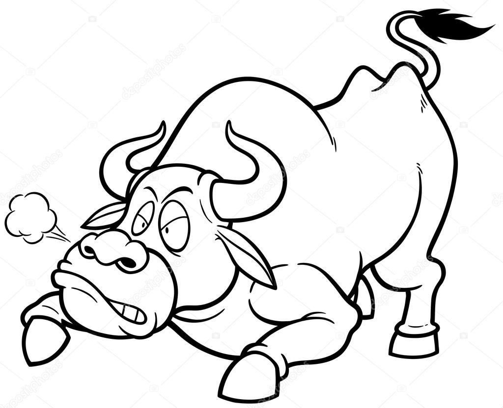 Animado Toro Para Colorear Esquema De Toro De Dibujos