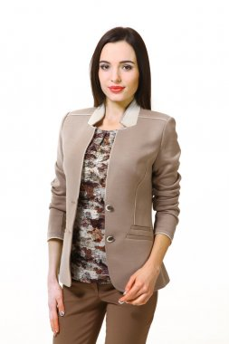 brunette business woman with straight hair style