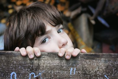 handsome preteen boy  on the summer house background