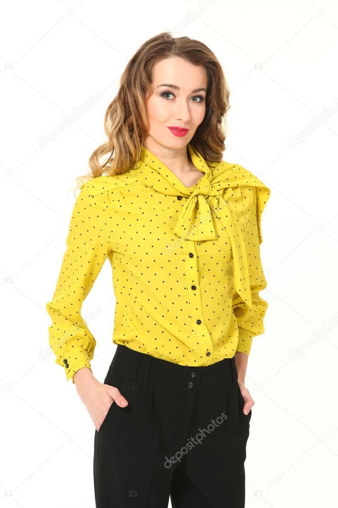 Belo Negócio Mulher Moda Modelo Na Blusa De Verão Amarela