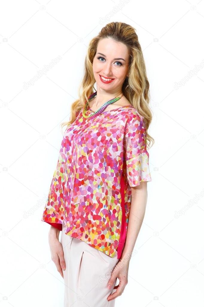 Menina De Modelo De Negócios Linda Mulher Moda Na Blusa De