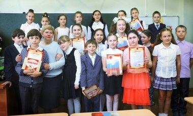 MOSCOW, MAY 26, 2015: Graduation in the primary school in Moscow