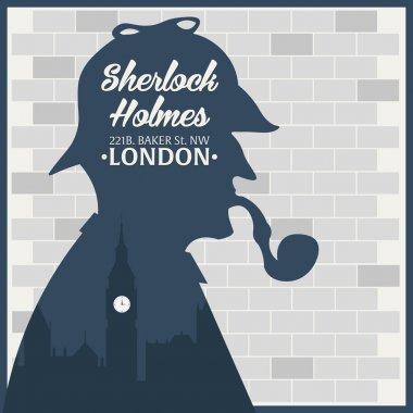 Sherlock Holmes.Detective illustration. Illustration with Sherlock Holmes. Baker street 221B. London. Big Ban