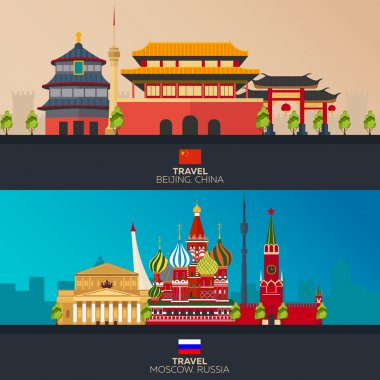 China and Russia. Tourism. Travelling illustration Beijing city and Moscow. Modern flat design. Beijing skyline. Moscow skyline. Set travel illustration