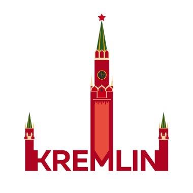 Kremlin logo. Flat design. Moscow kremlin