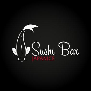 Sushi bar logo template design with chopstick. Bar, restaurant. Vector illustration.