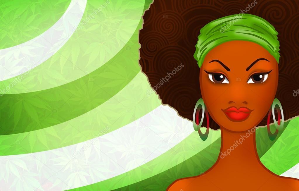 Retrato De Uma Jovem Mulher Negra Na Etnia Rastafari