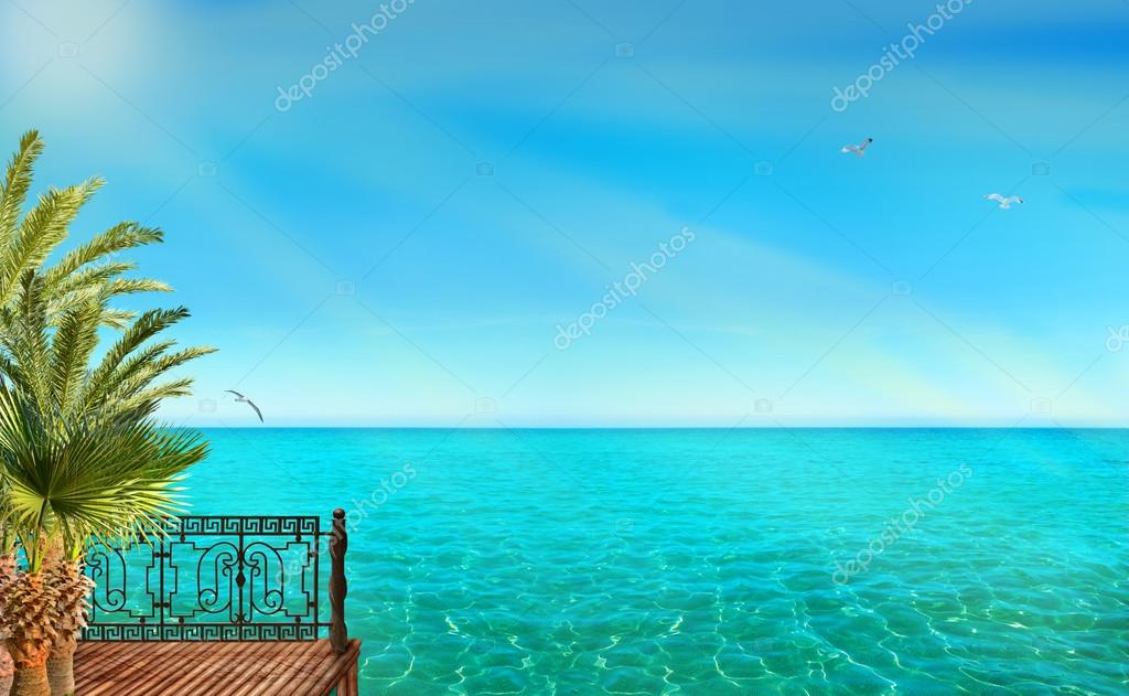 Tropical landscape with blue sea, palm trees and sunshine
