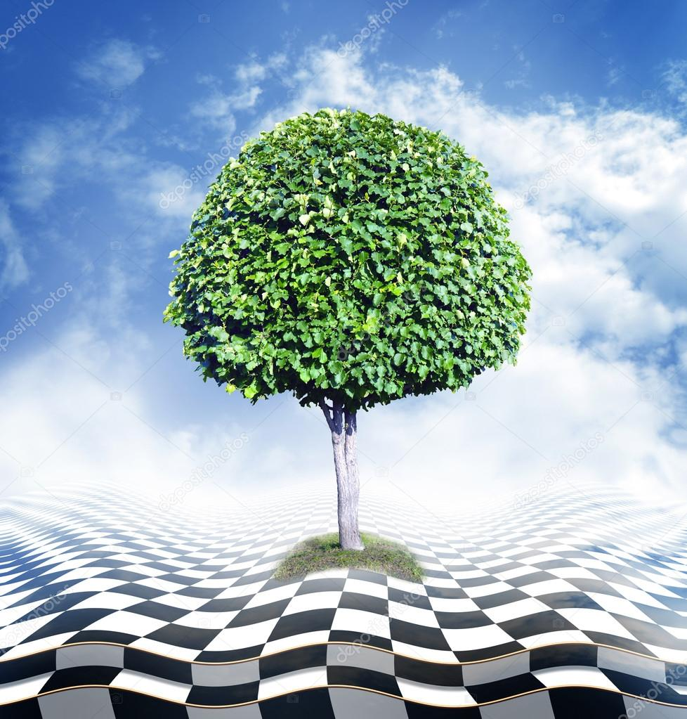 Green tree, blue sky with clouds and checkerboard floor, optical illusion