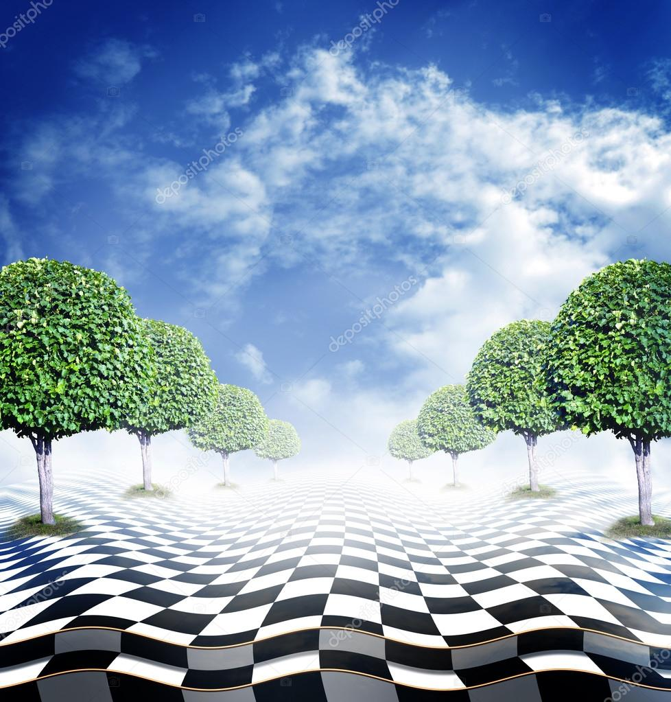 Illusive chess surface with green trees