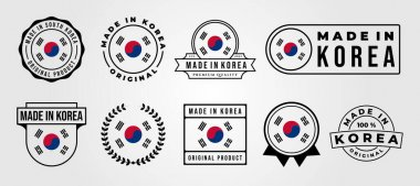 Set bundled made in korea label badge vector illustration design, made in korea logo design icon