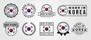 Set bundled made in korea label badge vector illustration design, made in korea logo design icon