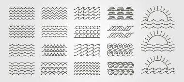 Set bundled wave icon logo vector minimal illustration design, line art wave pack logo design icon