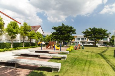 The village with the park and a playground