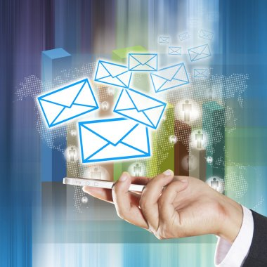 Concept of sending e-mails from your smartphone