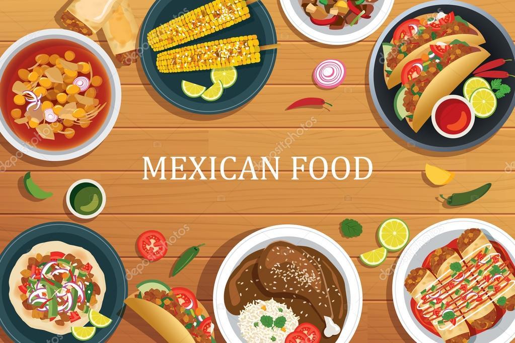 Fondo De Comida Mexicana: Comida Mexicana En Un Fondo De Madera. Vista Superior De