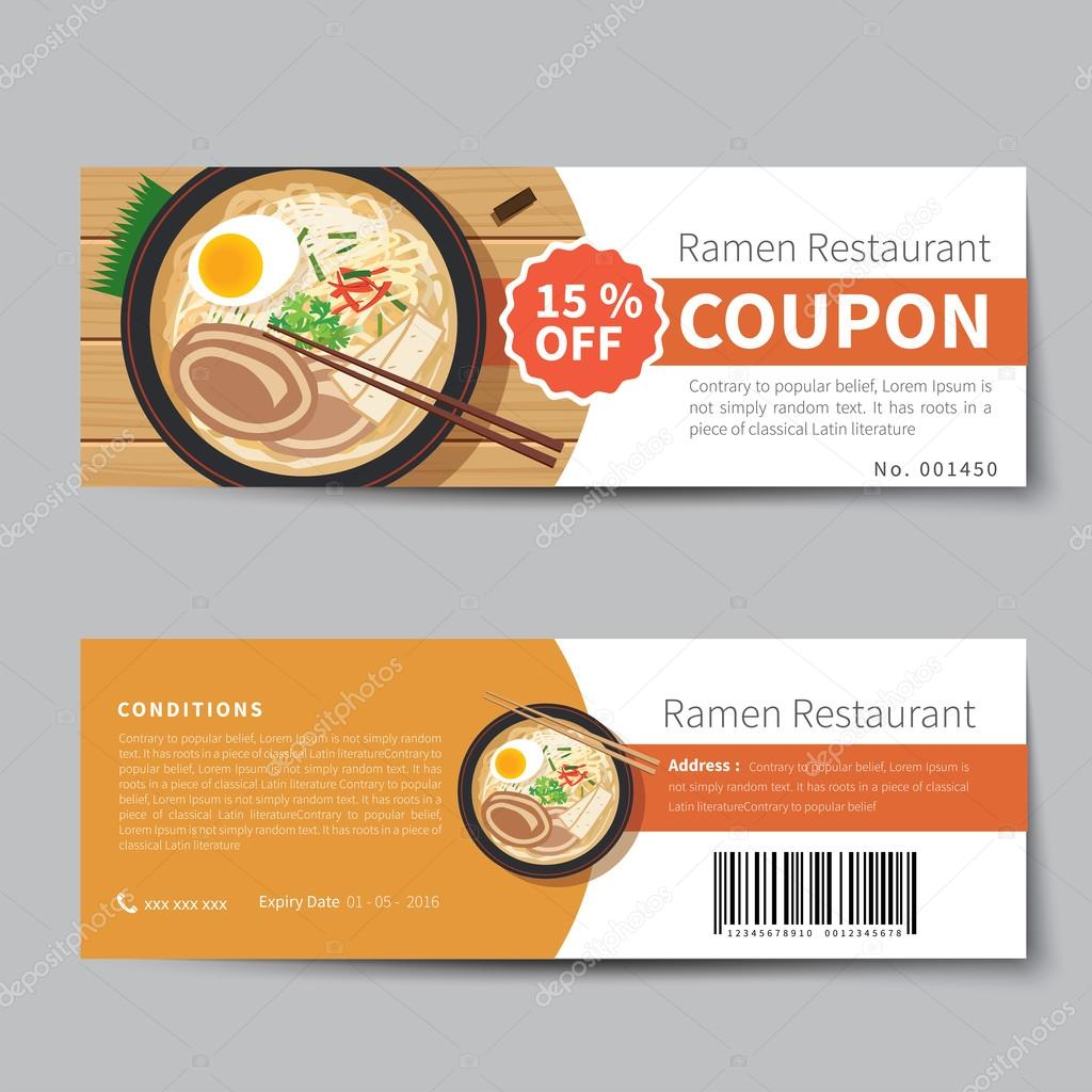 japanese food coupon discount template flat design stock vector kaisorn4 112943736. Black Bedroom Furniture Sets. Home Design Ideas