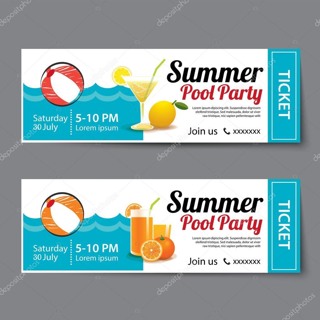 夏プール パーティー チケット テンプレート ストックベクター
