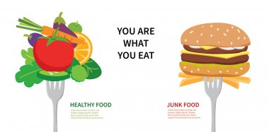 Healthy food and junk food
