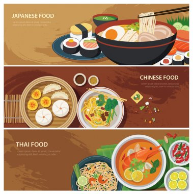 asia street food web banner , thai food , japanese food , chines
