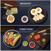 Snídaně a ulice potravin nápis
