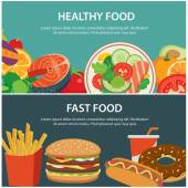 zdravé potraviny a rychlé občerstvení koncepce nápisu plochý design