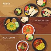 Fényképek Halal élelmiszer-web banner lapos kivitel, kebab, biryani csirke, kecske