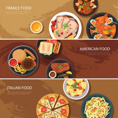 Set of food web banner flat design.France food,American food, It