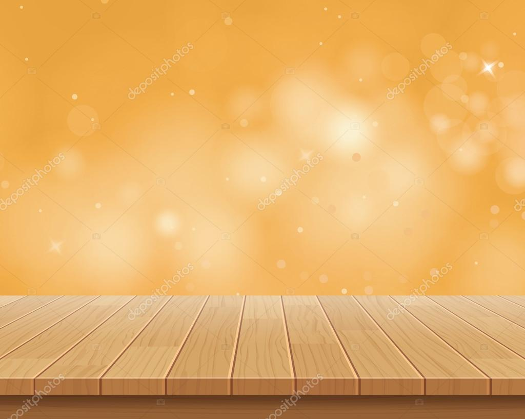 Wood table top on golden bokeh vector abstract background for Html table th always on top