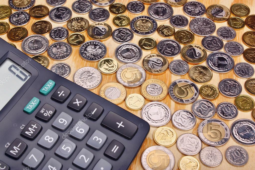 Polnische Geld Münzen Und Taschenrechner Stockfoto Adam88xxx