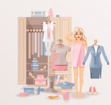 Girl with clothes closet